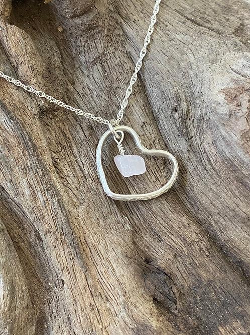 Birthstone pattern heart necklace October- Sterling silver, Rose Quartz Gemstone