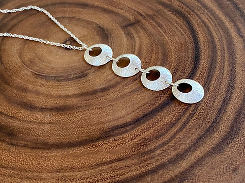 Hammered Sterling Silver Four Open Disk Necklace