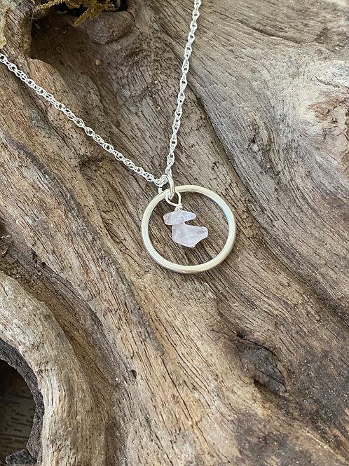 October Rose Quartz Gemstone & Sterling Silver Smooth Circle Birthstone Necklace