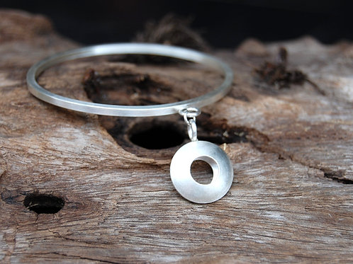 Double sided convex open bracelet - Sterling silver