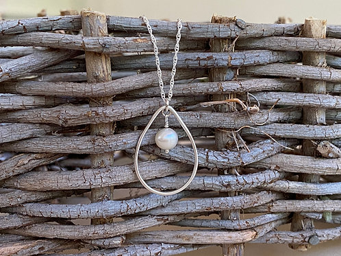 Droplet Freshwater Pearl & Sterling Silver Necklace