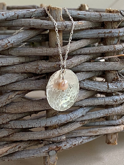 Hammered Sphere Freshwater Pearl & Sterling Silver Necklace