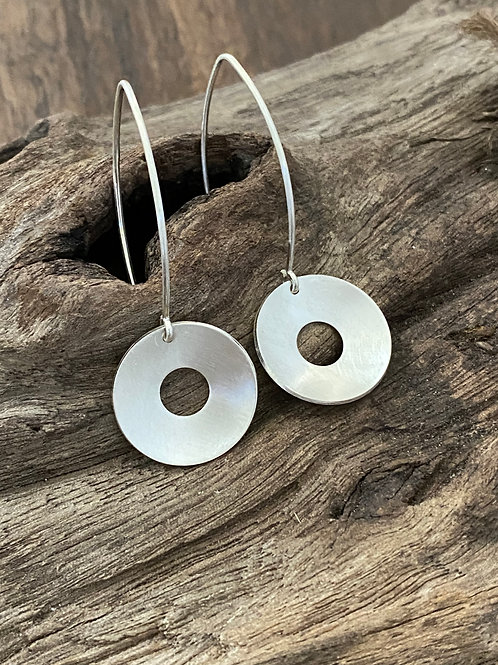 Polished Sterling Silver Concave Disk Earrings