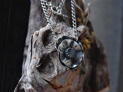 Large flower petals with druzy quartz center  - Sterling silver