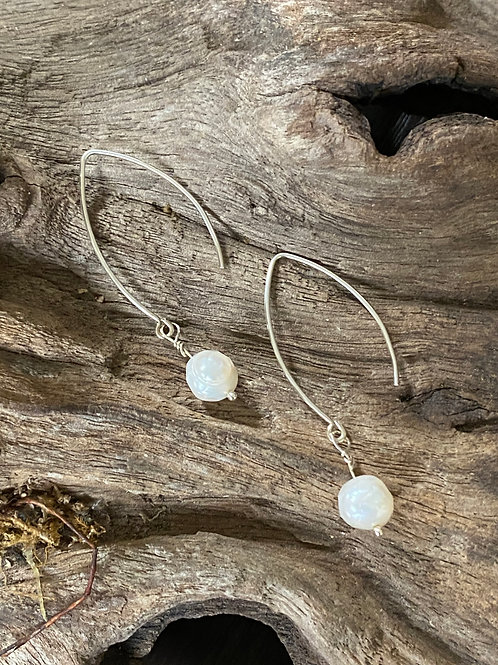 June Freshwater Pearl & Sterling Silver Long Birthstone Earrings
