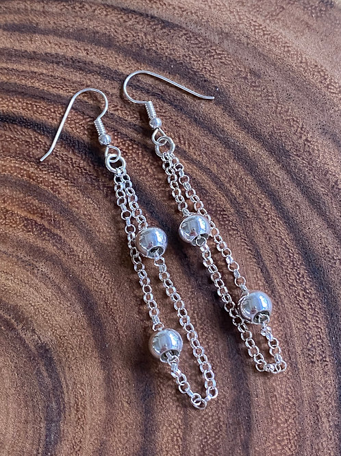 Floating Bead Sterling Silver Dual Chain Earrings