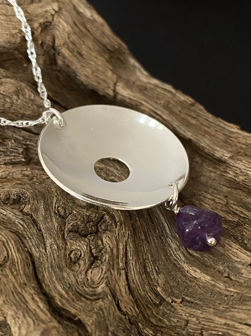 Concave Disk Amethyst & Sterling Silver Necklace