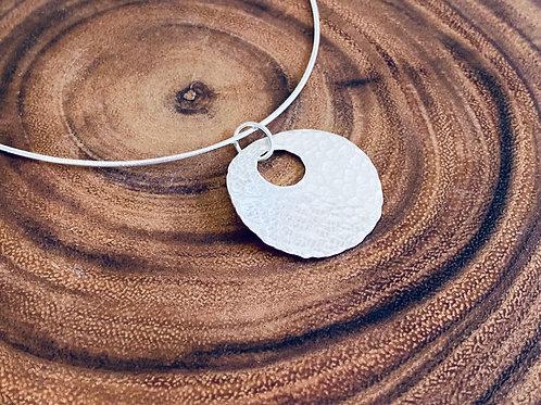 Hammered Large Sphere Sterling Silver Necklace