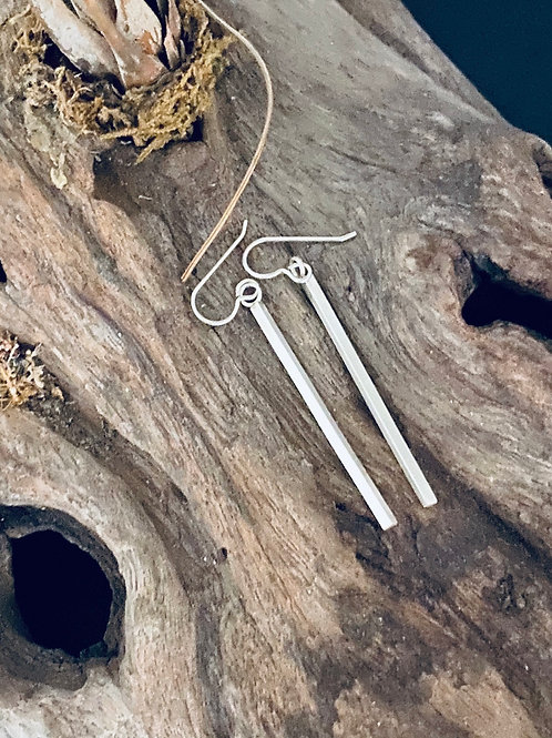 Long Sterling Silver Bar Earrings