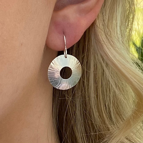 Hammered Sterling Silver Convex Disk Earrings