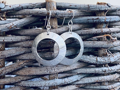 Hammered Large Sterling Silver Open Circle Disk Earrings