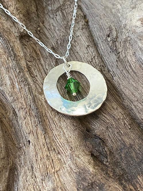 May Emerald Gemstone & Sterling Silver Disk Birthstone Necklace
