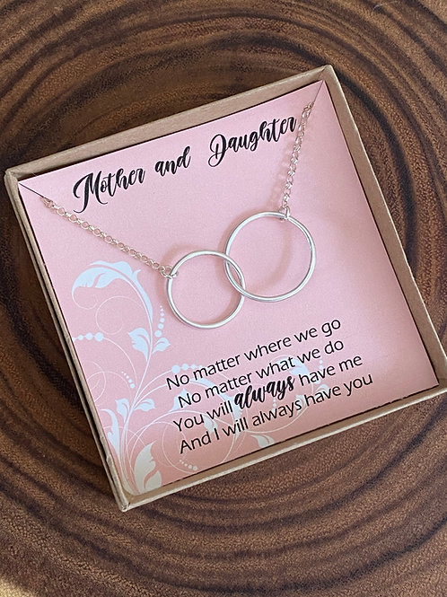 Mother & Daughter Linked Circles Sterling Silver Duet Necklace