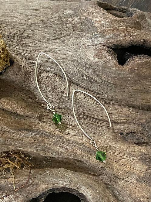 Birthstone long earrings May - Sterling silver, Emerald Swarovski Crystal