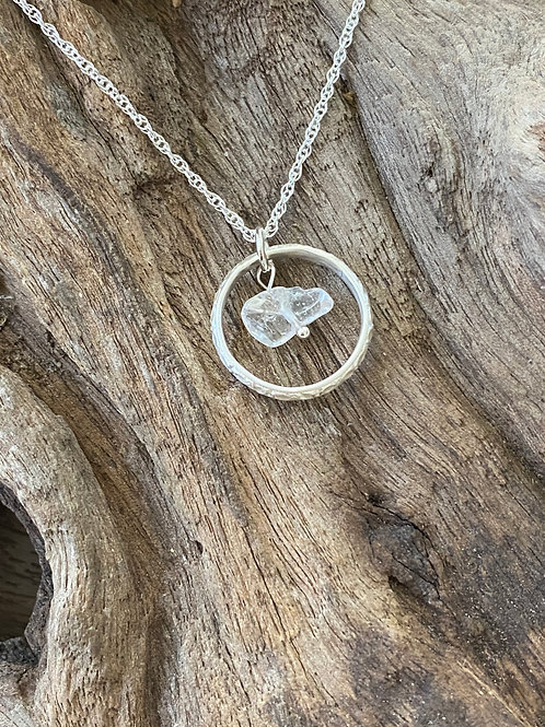 Birthstone pattern circle necklace April - Sterling silver, Crystal Gemstone
