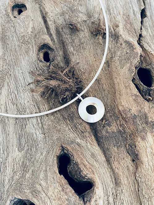 Convex Open Disk Sterling Silver Necklace