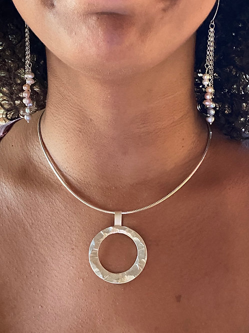 Chiseled Disk Sterling Silver Necklace