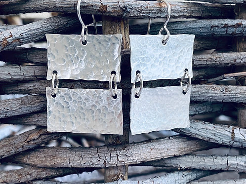 Hammered Large Linked Rectangle Bars Sterling Silver Earrings