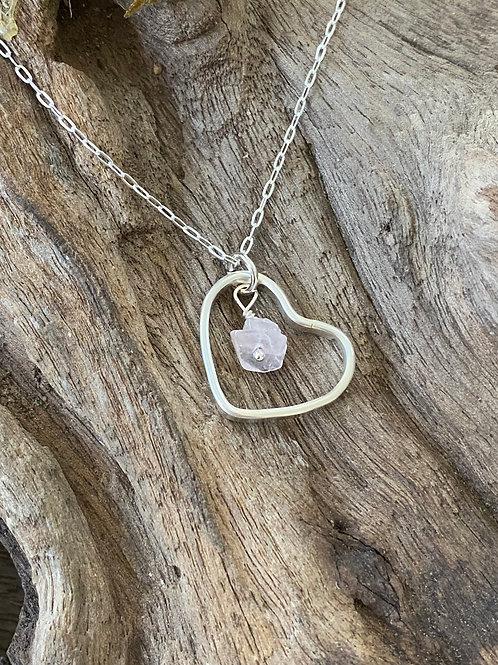 Birthstone heart necklace October - Sterling silver, Rose Quartz Gemstone