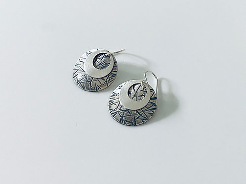 Hammered & Oxidized & Smooth Polished Sterling Silver Disk Earrings