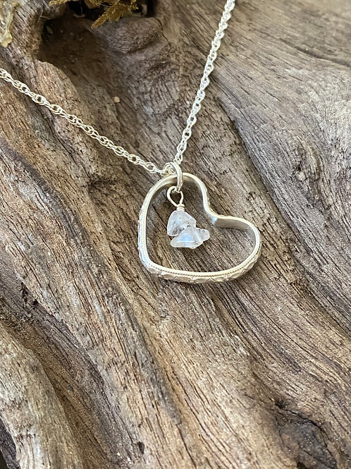 April Crystal Gemstone & Sterling Silver Textured Heart Birthstone Necklace
