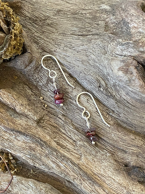 Birthstone earrings July - Sterling silver, Ruby Gemstone