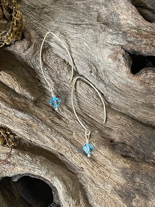 Birthstone long earrings March - Sterling silver, Aquamarine Swarovski Crystal