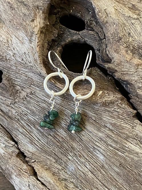 May Emerald Gemstone & Sterling Silver Circle Birthstone Earrings