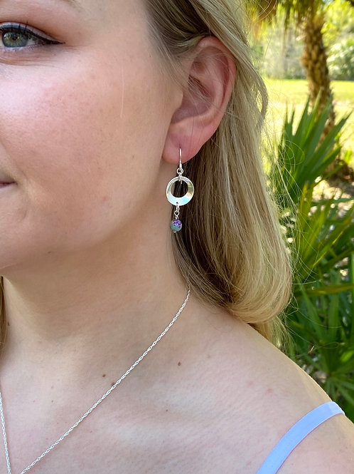 Jasper & Sterling Silver Disk Earrings