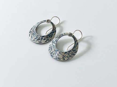 Hammered & Oxidized Sterling Silver Disk Earrings