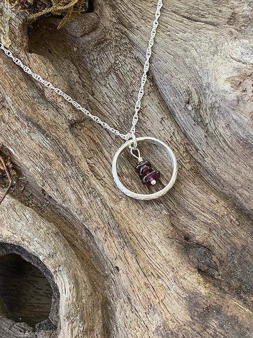 January Garnet Gemstone & Sterling Silver Textured Circle Birthstone Necklace