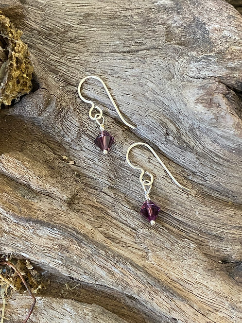 Birthstone earrings February - Sterling silver, Amethyst Swarovski Crystal