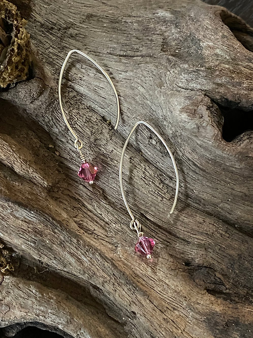 Birthstone long earrings October - Sterling silver,  Rose Quartz Swarovski