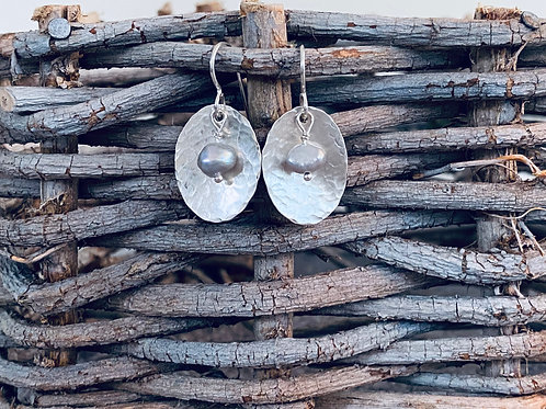 Hammered Oval Gray Freshwater Pearl Sterling Silver Earrings