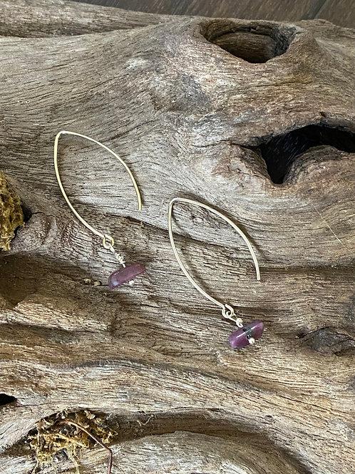 July Ruby Gemstone & Sterling Silver Long Birthstone Earrings