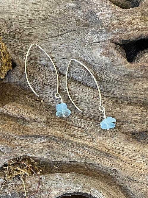 March Aquamarine Gemstone & Sterling Silver Long Birthstone Earrings