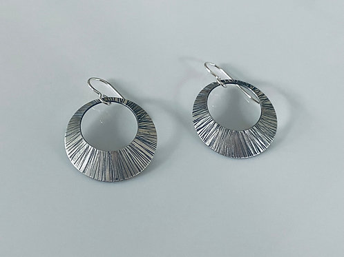 Hammered & Oxidized Sterling Silver Convex Disk Earrings