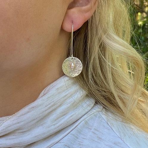 Hammered Sphere Freshwater Pearl & Sterling Silver Earrings