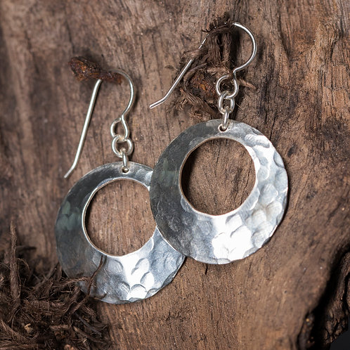 Hammered Sterling Silver Disk Earrings