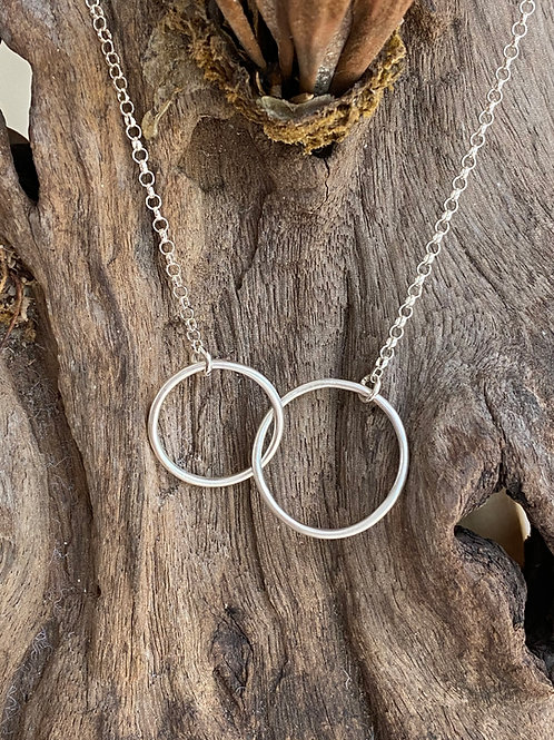 Linked Circles Sterling Silver Duet Necklace