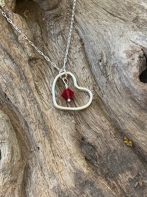 Birthstone heart necklace January - Sterling silver, Garnet Swarovski Crystal