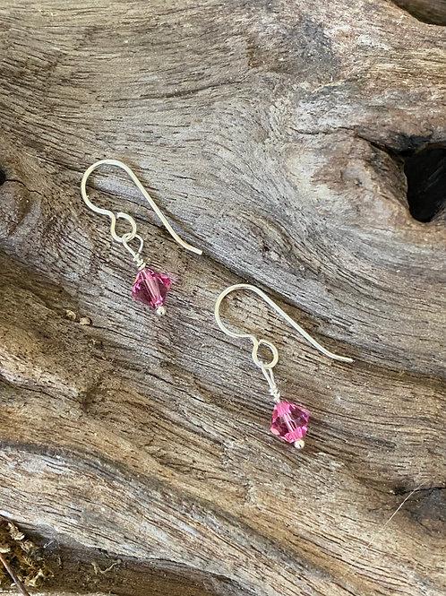 Birthstone earrings October - Sterling silver, Rose Quartz Swarovski Crystal