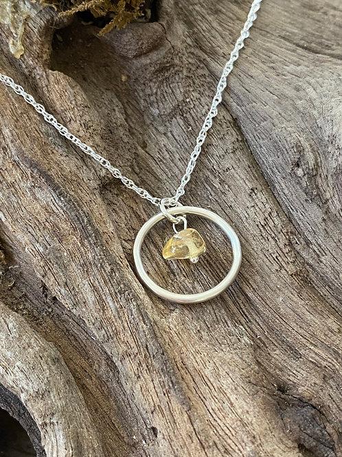 November Citrine Gemstone & Sterling Silver Smooth Circle Birthstone Necklace