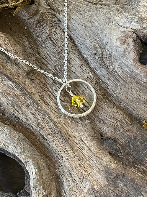 November Citrine Swarovski Crystal & 925 SS Textured Circle Birthstone Necklace