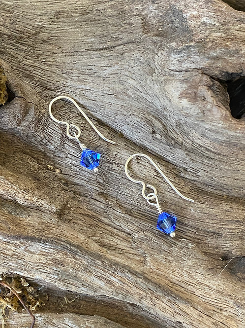 Birthstone earrings September - Sterling silver, Sapphire Swarovski Crystal