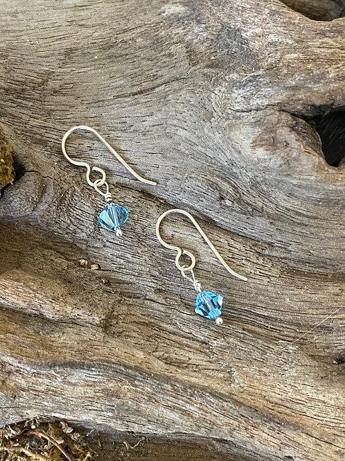 March Aquamarine Swarovski Crystal & Sterling Silver Dangle Birthstone Earrings
