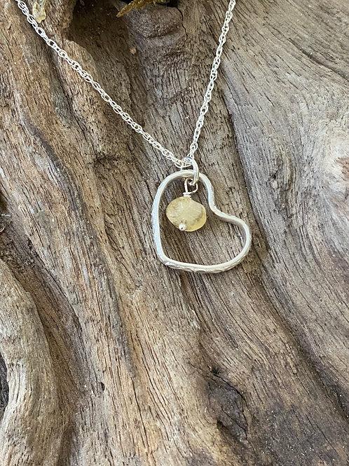 November Citrine Gemstone & Sterling Silver Textured Heart Birthstone Necklace