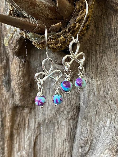 Jasper & Sterling Silver Chandelier Earrings