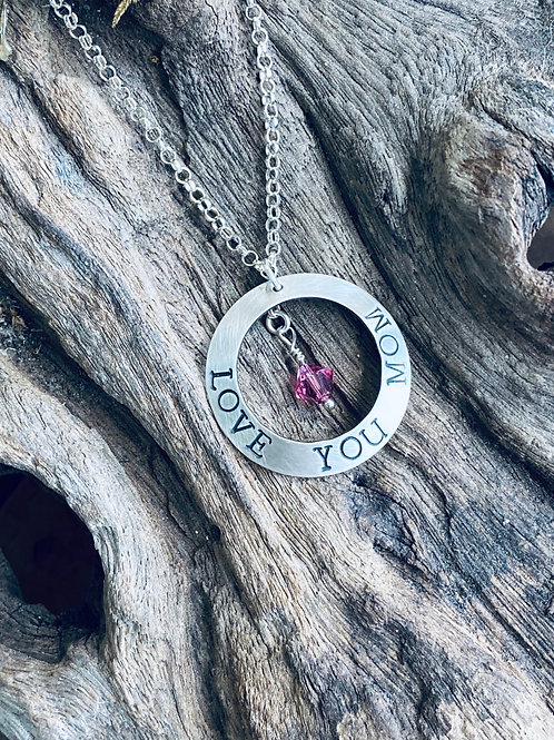 Mother's Birthstone & Sterling Silver Disk Necklace