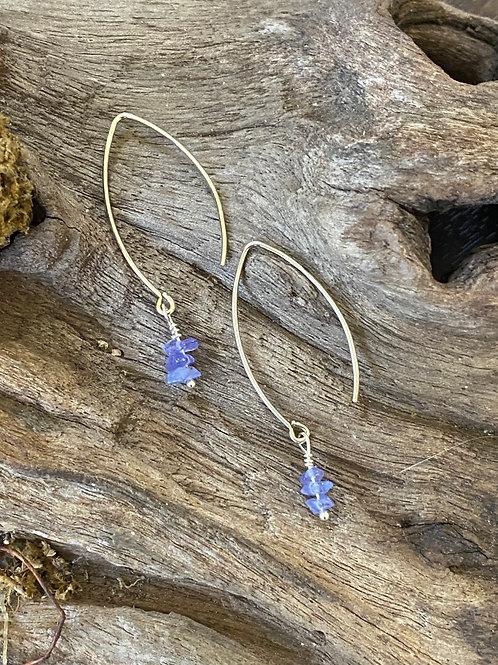 Birthstone long earrings December - Sterling silver, Tanzanite Gemstone